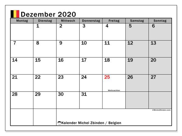 Kalender Dezember 2020, mit den Feiertagen von Belgien. Kalender Feiertage frei zum ausdrucken.
