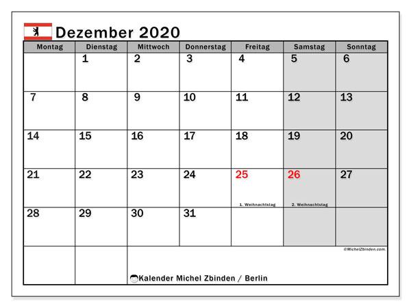 Kalender Dezember 2020, mit den Feiertagen in Berlin. Kalender Feiertage frei zum ausdrucken.