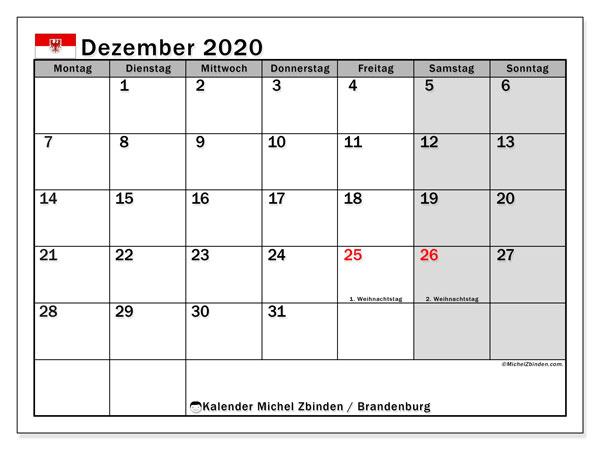 Kalender Dezember 2020, mit den Feiertagen in Brandenburg. Kalender mit Feiertagen zum kostenlosen ausdrucken.