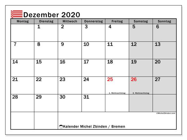 Kalender Dezember 2020, mit den Feiertagen in Bremen. Kalender mit Feiertagen zum kostenlosen ausdrucken.
