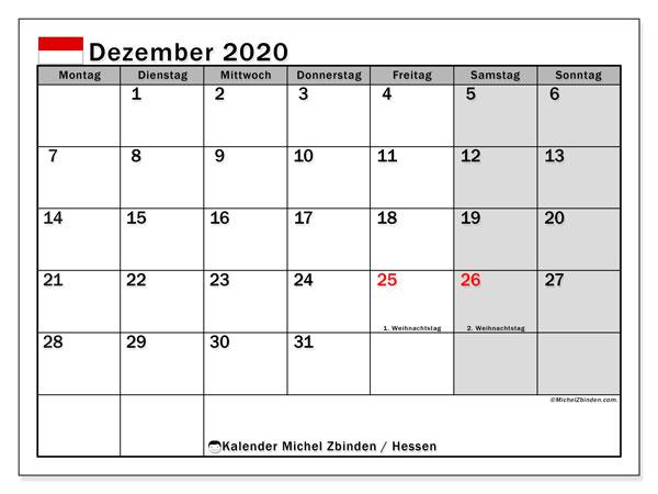 Kalender Dezember 2020, mit den Feiertagen in Hessen. Kalender Feiertage frei zum ausdrucken.