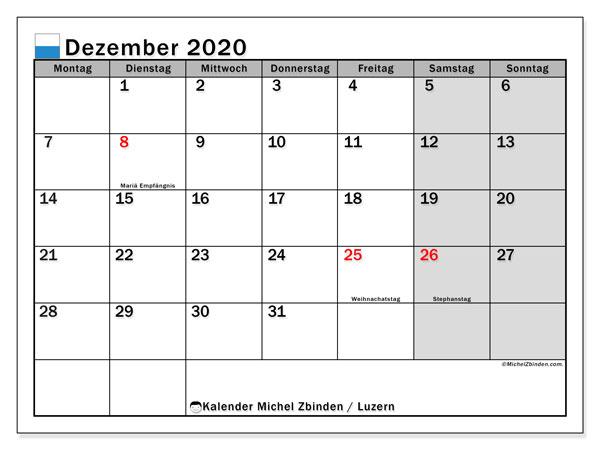 Kalender Dezember 2020, mit den Feiertagen des Kantons Luzern. Kalender mit Feiertagen zum kostenlosen ausdrucken.