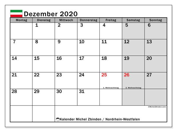 Kalender Dezember 2020, mit den Feiertagen in Nordrhein-Westfalen. Kalender Feiertage frei zum ausdrucken.