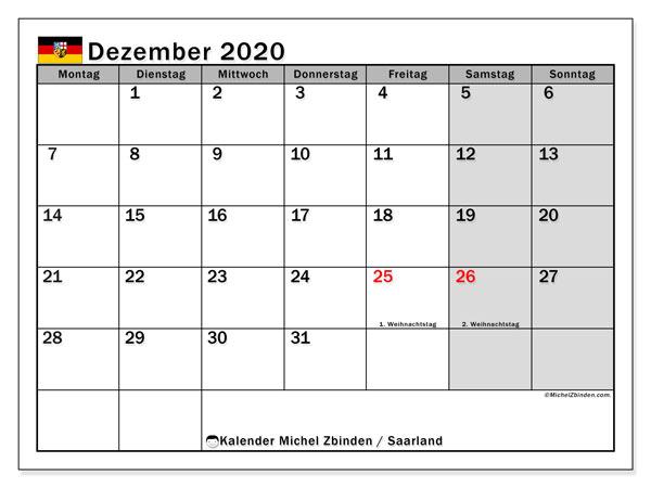 Kalender Dezember 2020, mit den Feiertagen des Saarlandes. Kalender Feiertage frei zum ausdrucken.