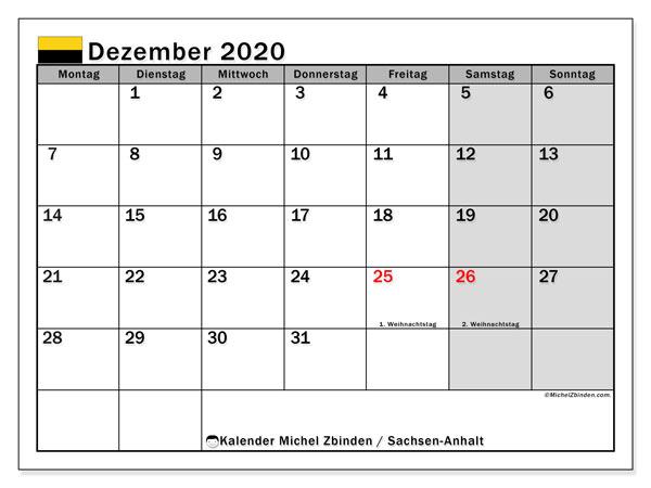 Kalender Dezember 2020, mit den Feiertagen in Sachsen-Anhalt. Kalender mit Feiertagen zum kostenlosen ausdrucken.