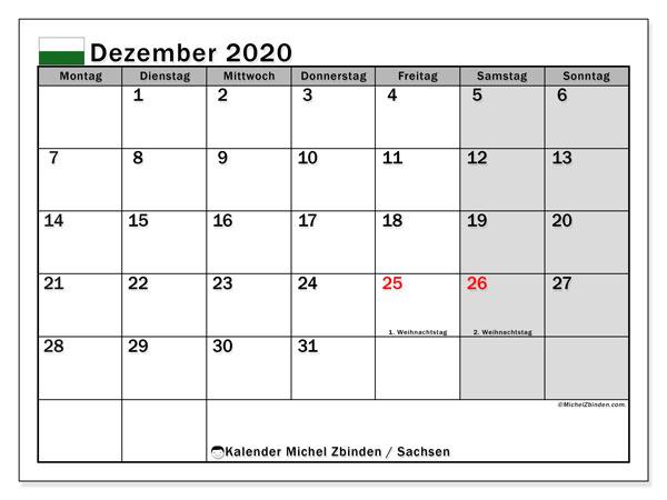 Kalender Dezember 2020, mit den Feiertagen in Sachsen. Kalender Feiertage frei zum ausdrucken.