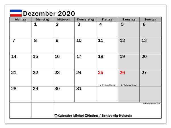 Kalender Dezember 2020, mit den Feiertagen in Schleswig-Holstein. Kalender mit Feiertagen zum kostenlosen ausdrucken.