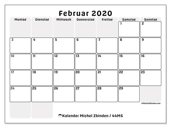 Kalender Februar 2020, 44MS. Monatlicher Zeitplan zum kostenlosen ausdrucken.