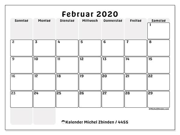 Kalender Februar 2020, 44SS. Kalender für den Monat zum kostenlosen ausdrucken.