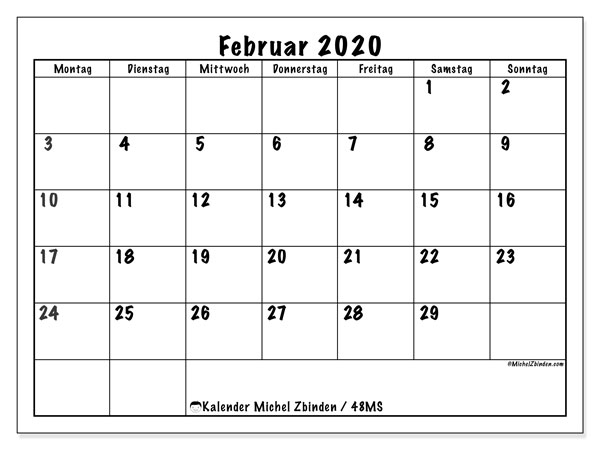 Kalender Februar 2020, 48MS. Zeitplan zum kostenlosen ausdrucken.