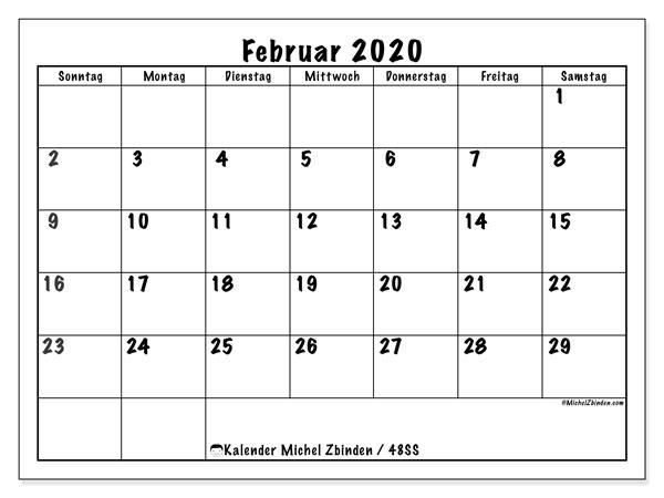 Kalender Februar 2020, 48SS. Kostenlos ausdruckbare Kalender.
