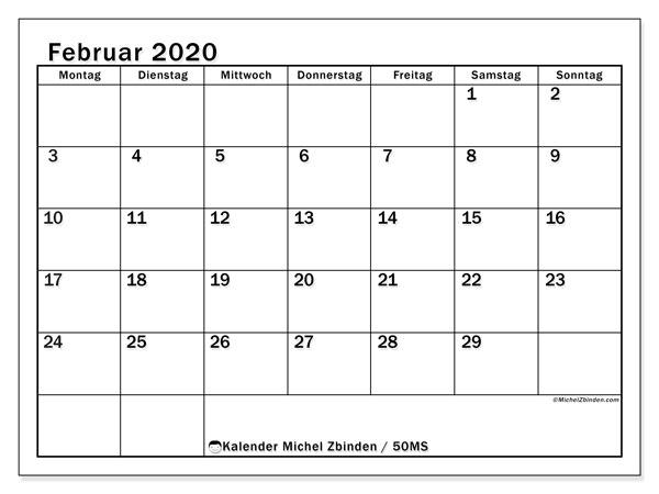 Kalender Februar 2020, 50MS. Zeitplan zum kostenlosen ausdrucken.