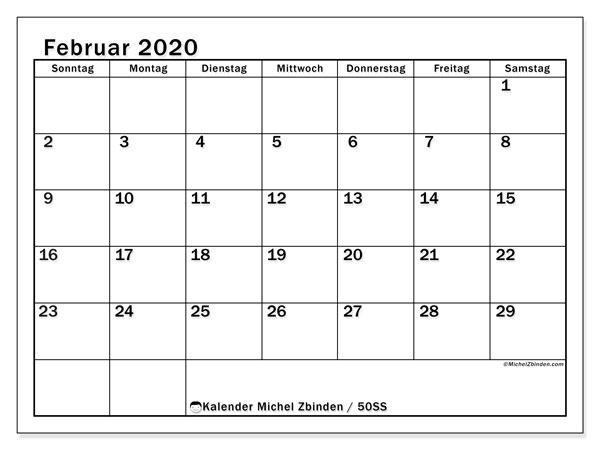 Kalender Februar 2020, 50SS. Monatlicher Kalender zum kostenlosen ausdrucken.