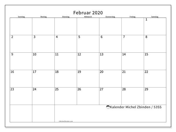 Kalender Februar 2020, 53SS. Kalender für den Monat zum kostenlosen ausdrucken.