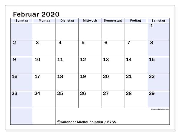 Kalender Februar 2020, 57SS. Zeitplan zum kostenlosen ausdrucken.