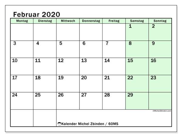 Kalender Februar 2020, 60MS. Kalender zum kostenlosen ausdrucken.