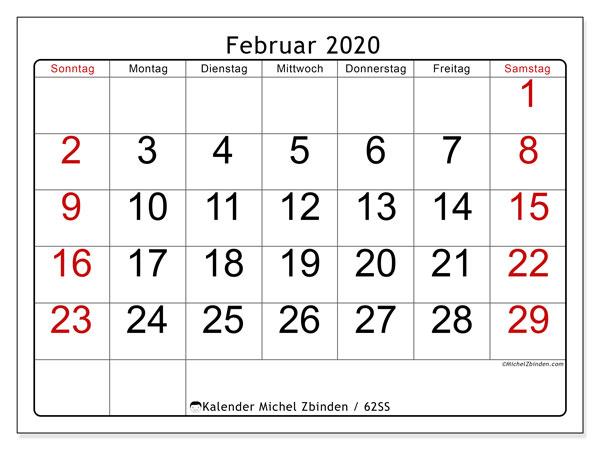 Kalender Februar 2020, 62SS. Kostenlos ausdruckbare Zeitplan.