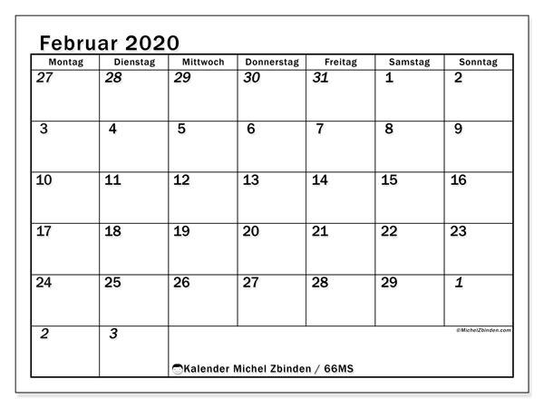 Kalender Februar 2020, 66MS. Monatskalender zum kostenlosen ausdrucken.