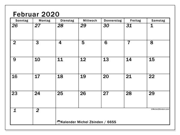 Kalender Februar 2020, 66SS. Monatlicher Zeitplan zum kostenlosen ausdrucken.
