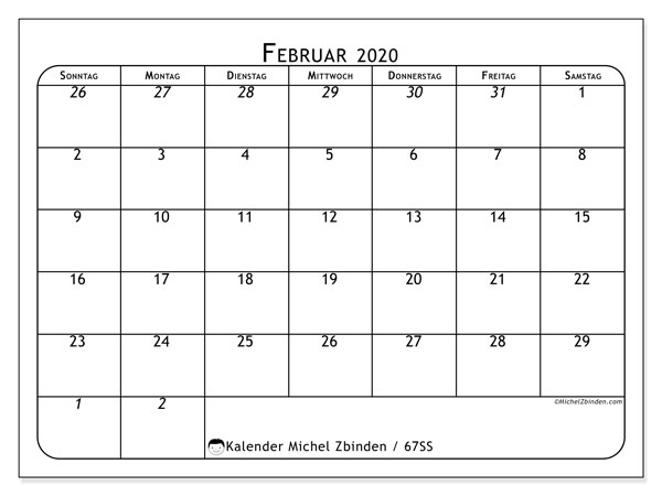 Kalender Februar 2020, 67SS. Kalender zum kostenlosen ausdrucken.
