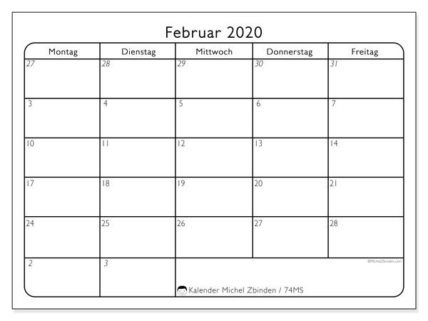 Kalender Februar 2020, 74MS. Zeitplan zum kostenlosen ausdrucken.