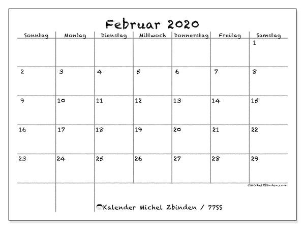 Kalender Februar 2020, 77SS. Kostenlos ausdruckbare Planer.