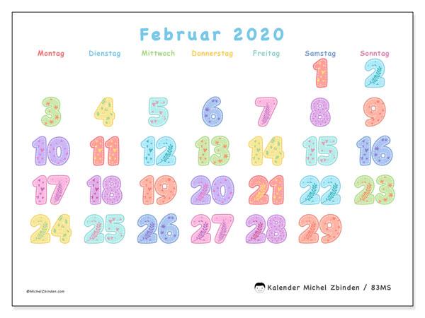 Kalender Februar 2020, 83MS. Kalender zum kostenlosen ausdrucken.