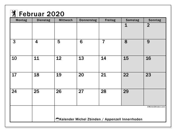 Kalender Februar 2020, mit den Feiertagen des Kantons Appenzell Innerrhoden. Kalender mit Feiertagen zum kostenlosen ausdrucken.