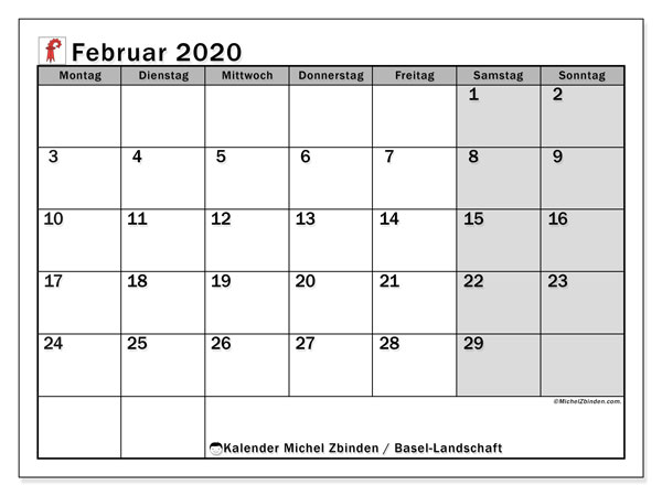 Kalender Februar 2020, mit den Feiertagen des Kantons Basel Landschaft. Kalender Feiertage frei zum ausdrucken.