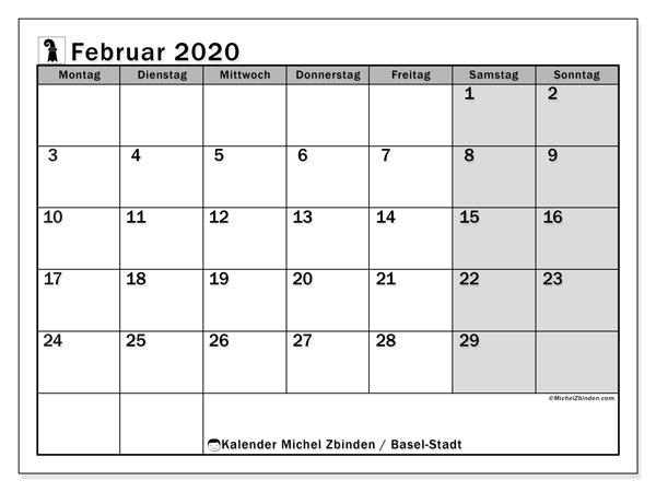 Kalender Februar 2020, mit den Feiertagen des Kantons Basel Stadt. Kalender Feiertage frei zum ausdrucken.