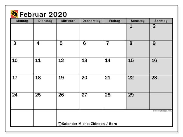 Kalender Februar 2020, mit den Feiertagen des Kantons Bern. Kalender mit Feiertagen zum kostenlosen ausdrucken.