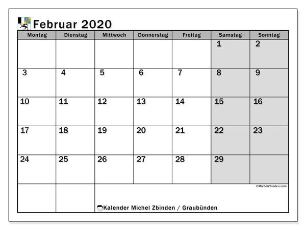 Kalender Februar 2020, mit den Feiertagen des Kantons Graubünden. Kalender mit Feiertagen zum kostenlosen ausdrucken.