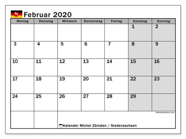 Kalender Februar 2020, mit den Feiertagen in Niedersachsen. Kalender mit Feiertagen zum kostenlosen ausdrucken.