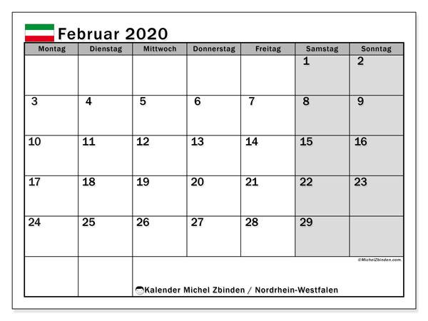 Kalender Februar 2020, mit den Feiertagen in Nordrhein-Westfalen. Kalender Feiertage frei zum ausdrucken.