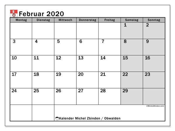 Kalender Februar 2020, mit den Feiertagen des Kantons Obwalden. Kalender mit Feiertagen zum kostenlosen ausdrucken.
