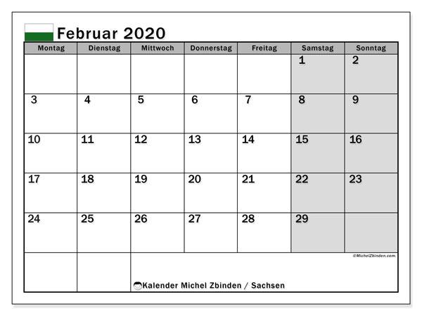 Kalender Februar 2020, mit den Feiertagen in Sachsen. Kalender mit Feiertagen zum kostenlosen ausdrucken.