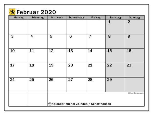 Kalender Februar 2020, mit den Feiertagen des Kantons Schaffhausen. Kalender mit Feiertagen zum kostenlosen ausdrucken.