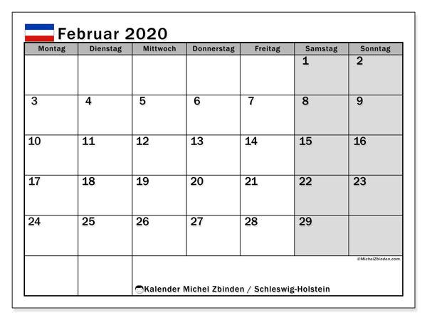Kalender Februar 2020, mit den Feiertagen in Schleswig-Holstein. Kalender Feiertage frei zum ausdrucken.