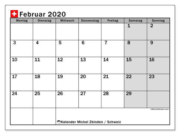 Kalender Februar 2020, mit den Feiertagen der  Schweiz. Kalender mit Feiertagen zum kostenlosen ausdrucken.