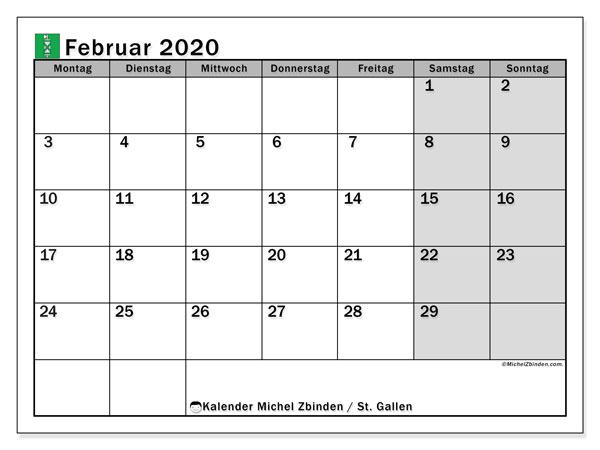Kalender Februar 2020, mit den Feiertagen des Kantons St. Gallen. Kalender Feiertage frei zum ausdrucken.