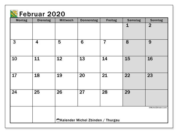 Kalender Februar 2020, mit den Feiertagen des Kantons Thurgau. Kalender Feiertage frei zum ausdrucken.