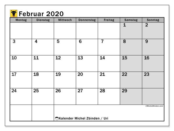Kalender Februar 2020, mit den Feiertagen des Kantons Uri. Kalender mit Feiertagen zum kostenlosen ausdrucken.