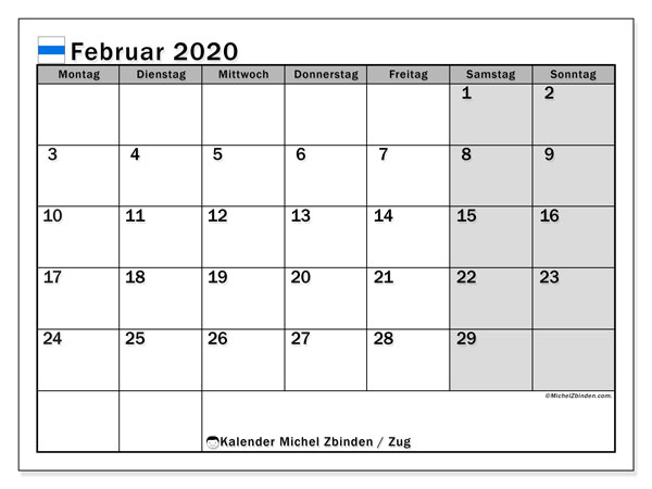 Kalender Februar 2020, mit den Feiertagen des Kantons Zug. Kalender Feiertage frei zum ausdrucken.