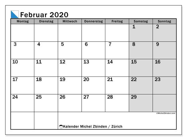 Kalender Februar 2020, mit den Feiertagen des Kantons Zürich. Kalender mit Feiertagen zum kostenlosen ausdrucken.