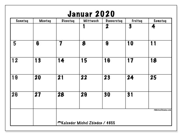 Kalender Januar 2020, 48SS. Monatskalender zum kostenlosen ausdrucken.