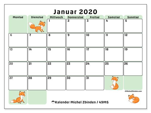 Kalender Januar 2020, 49MS. Kostenloser Kalender zum ausdrucken.