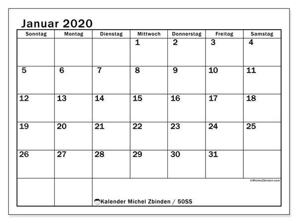 Kalender Januar 2020, 50SS. Kalender für den Monat zum kostenlosen ausdrucken.