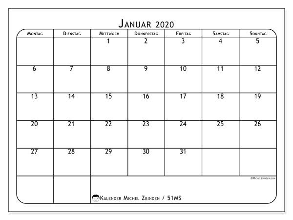 Kalender Januar 2020, 51MS. Monatlicher Zeitplan zum kostenlosen ausdrucken.