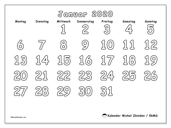 Kalender Januar 2020, 56MS. Monatskalender zum kostenlosen ausdrucken.
