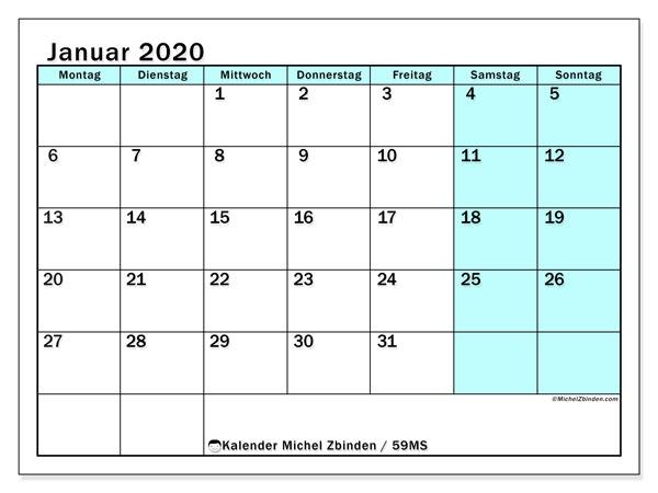 Kalender Januar 2020, 59MS. Kostenlos ausdruckbare Zeitplan.